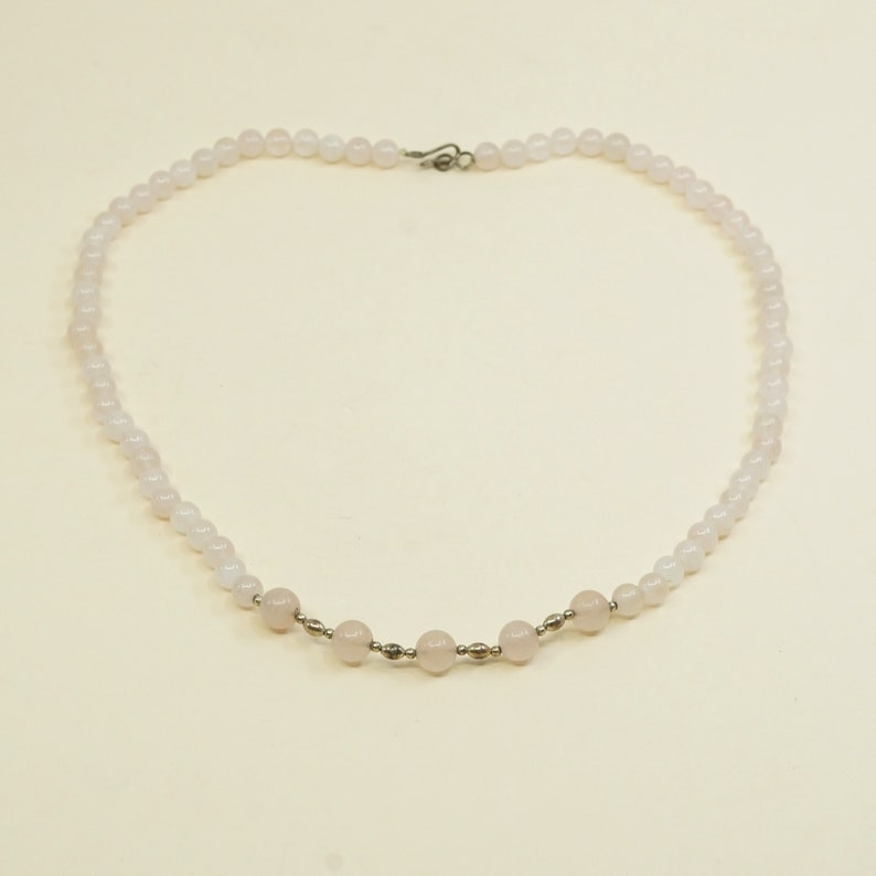 Vintage handmade Sterling silver clasp with pink quartz beads necklace 19\u201d
