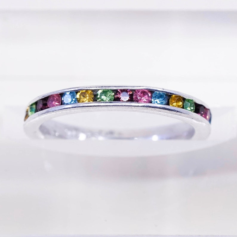 Sterling 925 silver band ring with princess cut colorful crystal stamped 925 Size 7