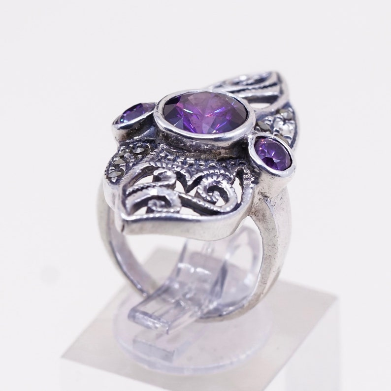 Vintage sterling silver handmade ring Size 5.5 925 with amethyst and marcasite details stamped 925