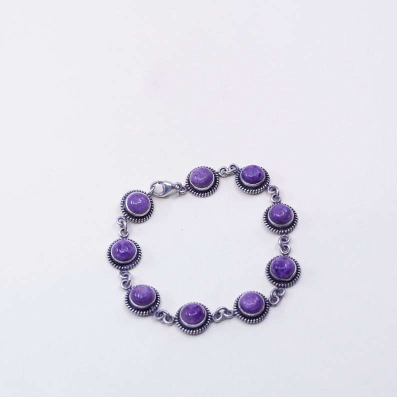 Stamped 925 925 chain with round amethyst and cable Vintage Sterling silver handmade bracelet 7\u201d