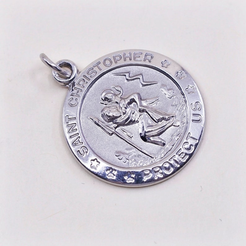 stamped ster M Vintage sterling 925 silver tag charm pendant with \u201cSaint Christopher protect us\u201d embossed