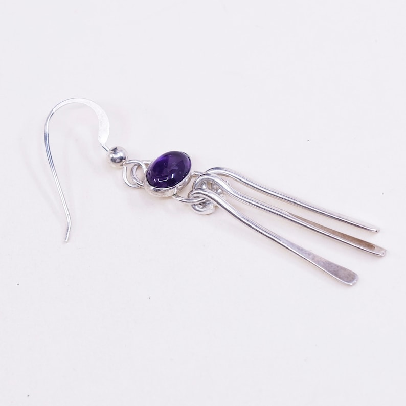 silver tested Vintage sterling silver handmade earrings 925 fringe with amethyst
