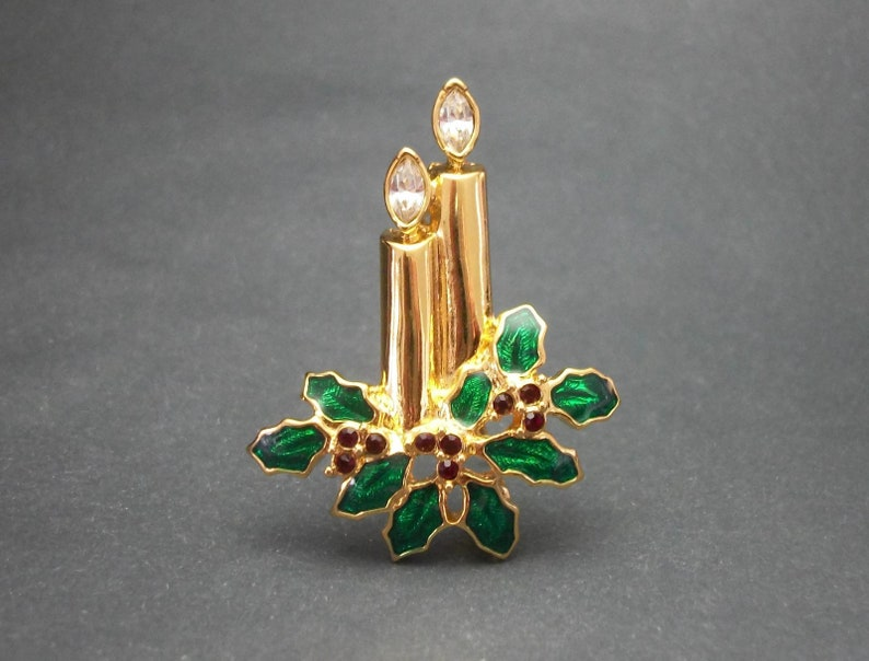 a52c237eaef Vintage Monet Christmas Candles Brooch Gold Tone Green Enamel   Etsy