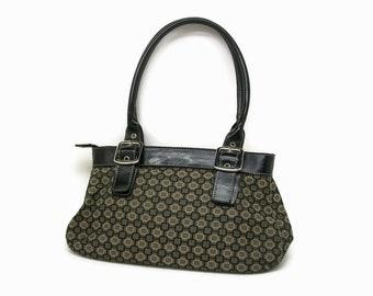 Vintage Nine West Black Taupe and Tan Geometric Print Handbag, Silver Hardware, Main Zipper Closure, Pockets, Tan Interior