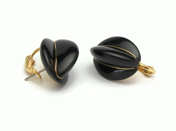 Napier Earrings Black Glossy Enamel And Gold Tone For Pierced Etsy