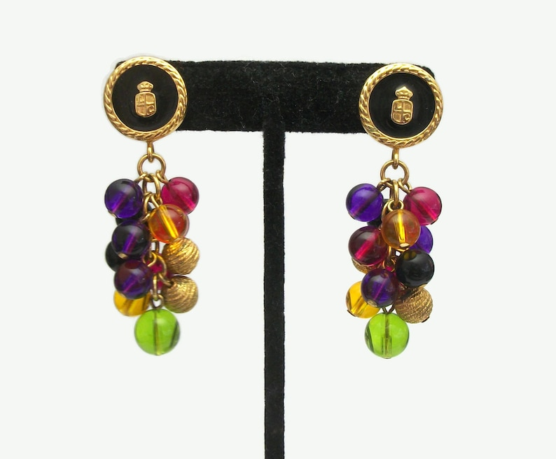 1d766e2357ff9 Vintage Liz Claiborne Crest Shield Drop Earrings with Colorful Bead Cluster  Dangles Black Gold Purple Green Yellow Fuchsia Signed LCI