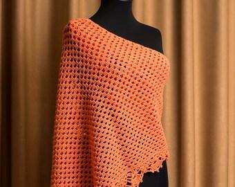 Evening Wrap, Triangle Crochet Shawl, Lace Crochet Shawl, Fall Color Scarf, Handmade Shawl, Triangle Shawl, Crochet Stole, Wrap Shawl