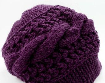 Plum Knit Hat, Woman Knit Hat, Knit Beanie Hat, Handmade Hat, Woman Knit Hat, Winter Hat, Cable Knit Hat