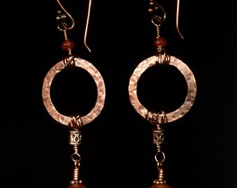 Hammered copper rings and faceted Carnelian dangle earrings