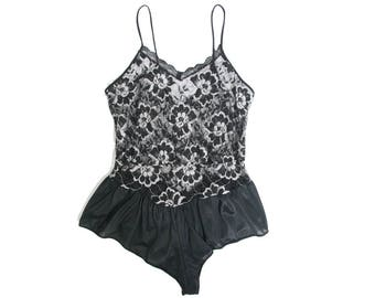 362a3bd9ee1 Black and Silver Lace Teddy Lingerie - Vintage Lingerie - Lace Satin - Size  Small - Bodysuit - Lingerie Romper 70s 80s High Cut Sexy