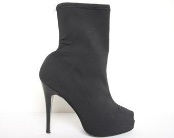 79db75de5a59 90s Vintage Neoprene Stiletto Boots - Peek A Boo Toe - High Heel Boots -  Size 9 Women - Spike Heel Sock Boot - Ankle Boots Sexy 1990s Goth