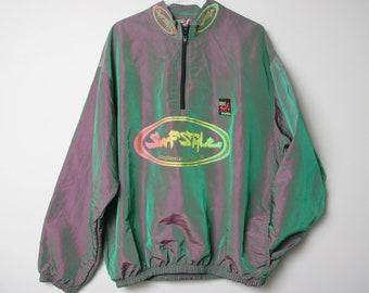 6fe01cfea9 1996 Surf Style Iridescent Windbreaker - Vintage 90s Myrtle Beach  Interplanetary Body Gear - Neon Florescent Quarter Zip Dolphin Surfer Wear