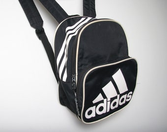8a6302ab81 90s Vintage ADIDAS Mini Backpack - Black and White - Sporty Backpack  Streetwear Sportswear - Adidas Bag - Small Backpack Y2K Cyber Goth