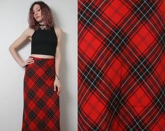 320f40c91 80s Vintage High Waisted Plaid Maxi Skirt - Long Tartan Skirt - Wool Skirt  - Punk Mod Long Skirt - Size Medium M Womens Aline Maxi Skirt