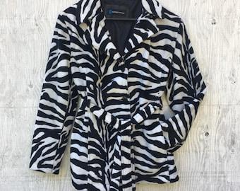 347a9f917e 90s Faux Fur Zebra Prink Trench Coat - Vintage Animal Print Peacoat - Fuzzy  Zebra Jacket Size Large L Womens Pin Up Girl Jacket Goth Grunge