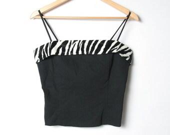 674abba528d2f Vintage 90s Tube Top Zebra Print Faux Fur - Size Large Womens Tank Top Crop  Top Rockabilly Punk Shirt 90s Top Corset Spaghetti Strap Cropped