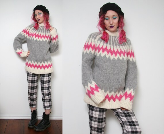 Vintage Hand Knit Wool Sweater - Large Cozy Warm S