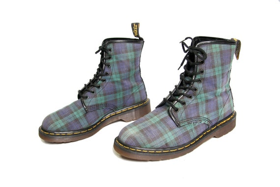 Plaid Martens Boots Boots UK 9 Boots 90s Green US UK In 90s Womens Docs Size Dr Black Ankle The Punk Made Plaid Eye 7 8 Blue 4x4wAtqgU