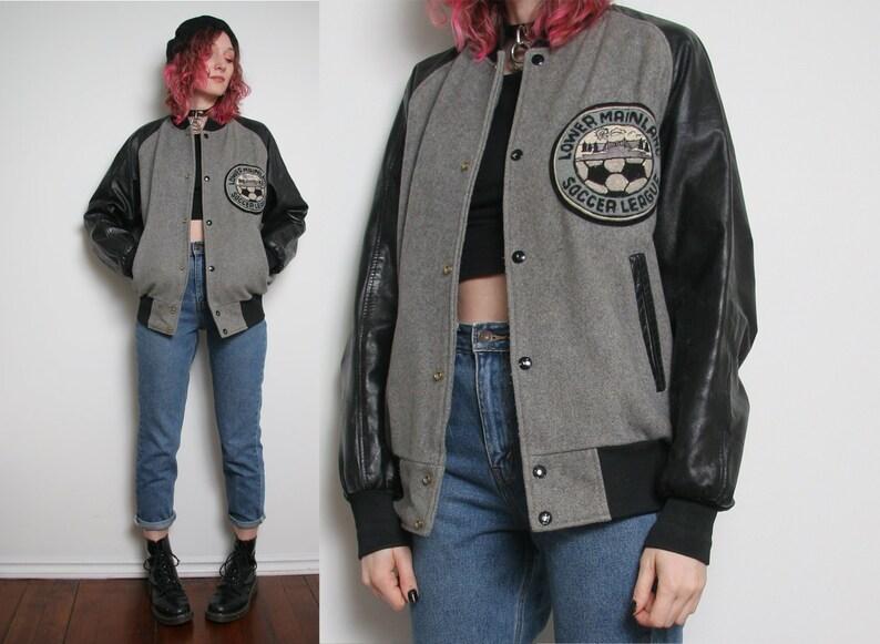 848c422731d 80s Vintage Wool Varsity Jacket Grey Wool Trucker Jacket Black
