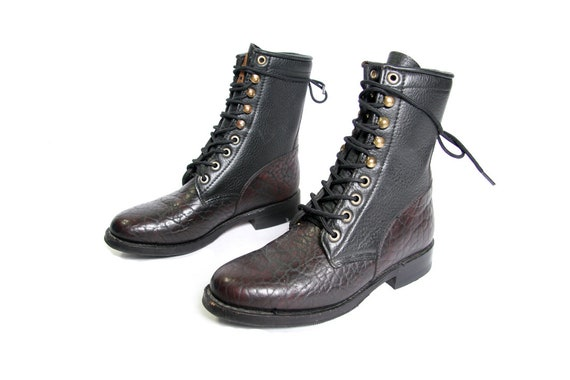 Boots Kiltie Motorcycle and Boots Boots Western Dark Laces Black Ankle Burgundy Leather Boot Roper Boots Pebbled and Racer Eye Hook qw87z
