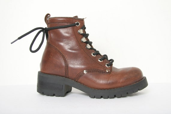 Vintage 90 ALDO Brown Leather Chunky Boots - Hook