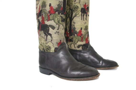Vintage Black Leather and Tapestry Tall Boots  - R