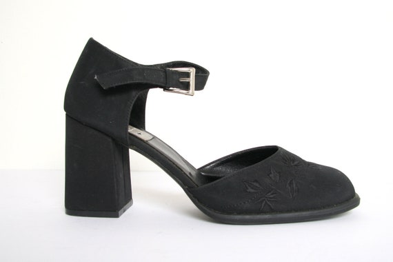 Heel Black Platforms Eu Chunky Heels 90s Vintage Size 39 Embroidered Mules Strappy Shoes Transit Goth Y2k Block 1990s 5L4qAc3Rj