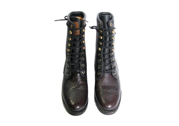 Boot Burgundy Roper Motorcycle Hook Leather Laces Racer Dark Ankle Boots and Boots Black Boots Pebbled Boots Eye Western Kiltie and aqnwgf
