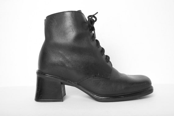 Vintage 90 Black Leather Chunky Boots - Roberto Vi