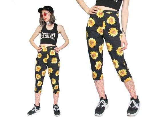 90s Sunflower Print Capri Pants - 90s Flood Pants… - image 2