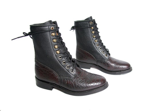 Hook Boots Motorcycle Ankle Boots Boots Boot Leather Pebbled Eye Racer Western Roper and Kiltie Laces Burgundy and Dark Black Boots wvqTW8PXPf