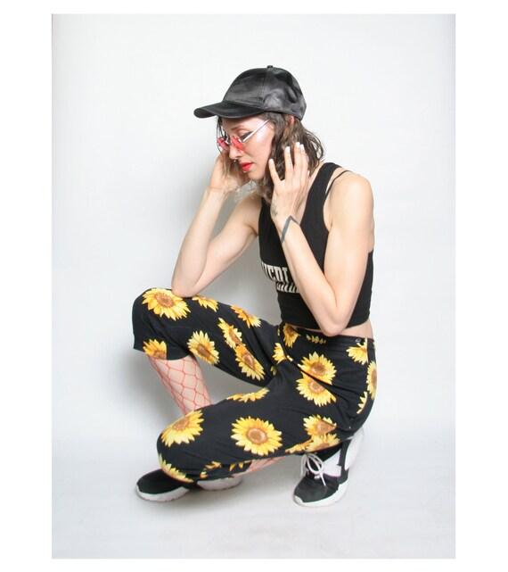 90s Sunflower Print Capri Pants - 90s Flood Pants… - image 4