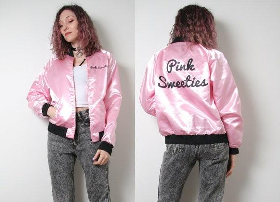 Vintage 80s Satin Bomber Jacket - Pink and Black