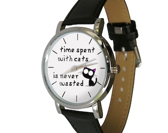 Time spent with cats watch, Cat Lovers, Cat Gift, mens watch, womans watch