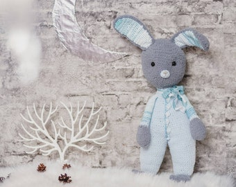 Crochet Rabbit Toy Amigurumi Bunny Doll Plush Bunny Knit Doll Stuffed Rabbit Knit Bunny Doll Amigurumi Bunny Personalize Gift for Baby Boy