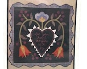 All Through the Night Folk Art Designs 629 Penny Rug Pattern Let Your Heart Overflow Finished Size 22X22 Inches UNCUT