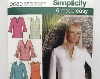 909bc4f834e Simplicity 0680 Easy Misses Tunic With Neckline/Sleeve Variations Size  14-16-18-20-22 UNCUT