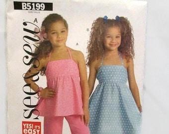See & Sew B5199 Easy Girls Top Dress Pants Size 2-3-4-5 UNCUT