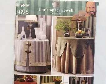 Simplicity 4096 Christopher Lowell Collection Table Covers and Toppers for 28 inch High Accent Table UNCUT