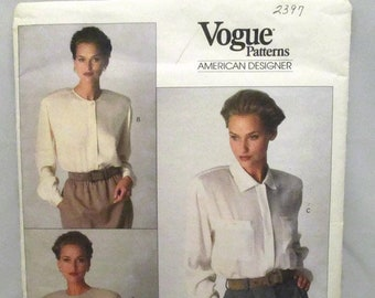 Vogue 2397 Calvin Klein American Designer Very Easy Misses Blouse Loose Fitting Jewel Neckline Size 6-8-10 UNCUT