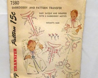 Simplicity 7380 Embroidery and Pattern Transfer Baby Sacque and Wrapper Infants Size