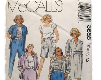 McCalls 3658 Womens Duster Coat Dress or Jacket Top Skirt Pants and Shorts Size 22-1/2 UNCUT