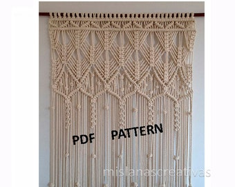 PDF Instructions Macrame Curtain HANDMADEMacrame Wall Hanging Cotton 8mm Pattern With Instant Download