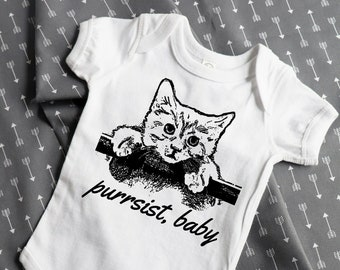 Funny baby clothes, Purrsist, Nevertheless she Persisted, feminist baby, baby bodysuit/babygrow, screen print, funny baby, eco friendly