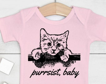 "Cat Baby Outfit ""Purrsist, Baby"" (Bodysuit, multiple colors)"