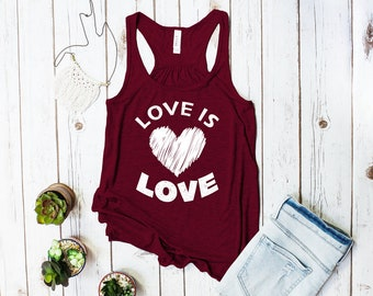 Love is Love racerback tank top (NEW DESIGN! Gay Rights, LGBT shirt)