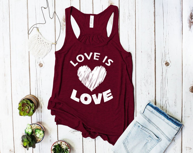 Featured listing image: Love is Love racerback tank top (NEW DESIGN! Gay Rights, LGBT shirt)