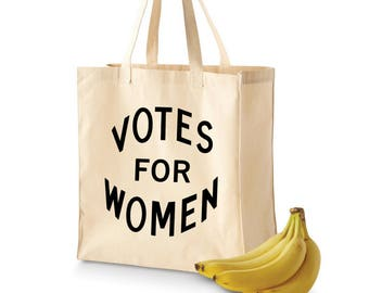"Feminist Tote Bag: Reusable Large Grocery Tote | ""Votes for Women"" suffrage 
