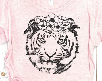 Tiger Tshirt: Tiger Flower Crown Tshirt