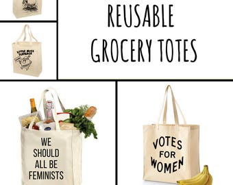 Feminist Reusable Grocery Totes (set of 4): 100% Eco-friendly Cotton